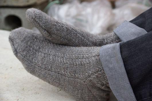 Носки, Чулки ручной работы. Ярмарка Мастеров - ручная работа. Купить Мужские носки с альпакой серо-коричневые. Handmade. Носки
