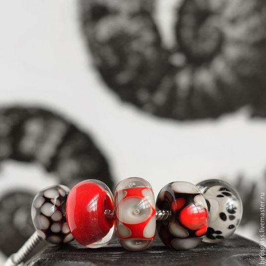 Бусины пандора ручной работы. Ярмарка Мастеров - ручная работа. Купить Набор бусин Графика. Handmade. Пандора, красный, серый