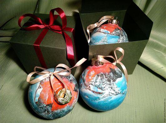 Новый год 2017 ручной работы. Ярмарка Мастеров - ручная работа. Купить Новогодний шар в стиле Федоскино. Ручная роспись. Handmade.