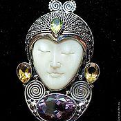 Украшения handmade. Livemaster - original item silver pendant (Buddha-face) with citrine and garnets. Handmade.