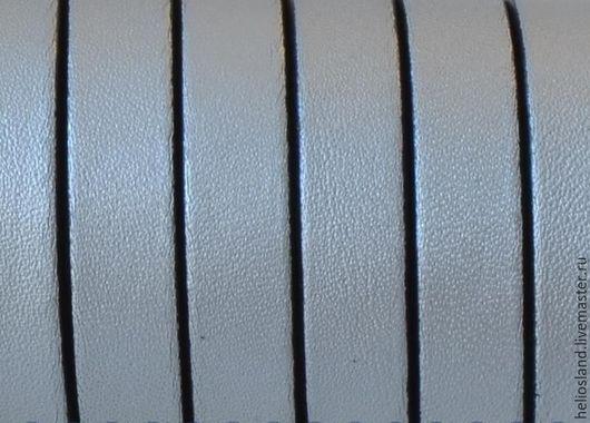 Для украшений ручной работы. Ярмарка Мастеров - ручная работа. Купить Кожаный шнур плоский 10 мм светло-серый металлик. Handmade.
