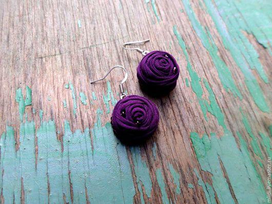"""Серьги ручной работы. Ярмарка Мастеров - ручная работа. Купить Серьги из ткани """"Чернильные цветы"""". Handmade. Тёмно-фиолетовый"""