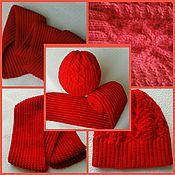Работы для детей, ручной работы. Ярмарка Мастеров - ручная работа Шапка и шарфик ярко-красного цвета. Handmade.