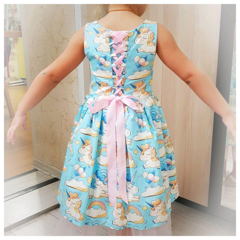 Платье единорожки на бирюзовом