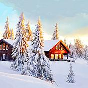 Картины ручной работы. Ярмарка Мастеров - ручная работа Картины: Зимнее утро в лесу. Handmade.