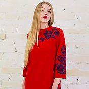 Одежда ручной работы. Ярмарка Мастеров - ручная работа Платье шерстяное красное с вышивкой. Handmade.