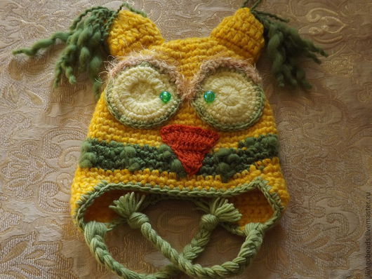 Шапки и шарфы ручной работы. Ярмарка Мастеров - ручная работа. Купить Шапка-сова зимняя. Handmade. Желтый, шапка вязаная