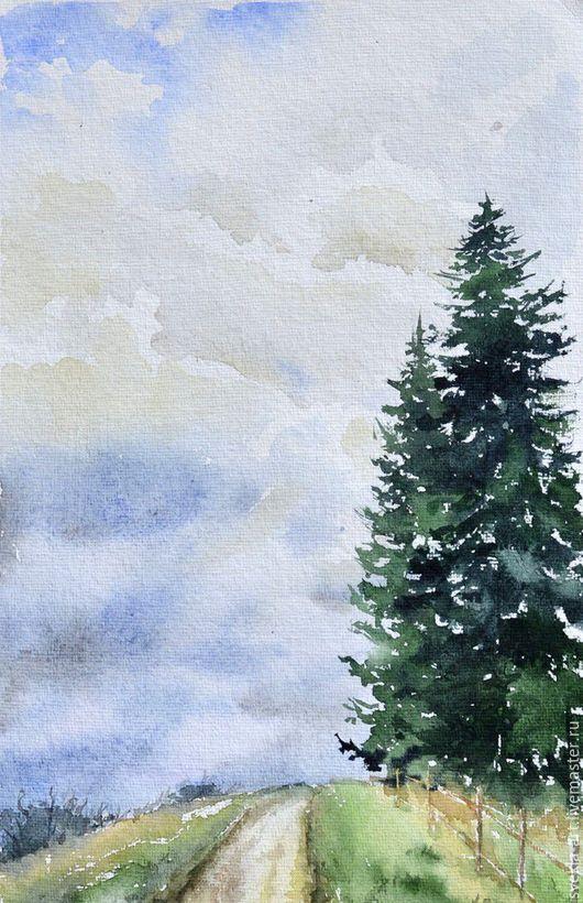 """Пейзаж ручной работы. Ярмарка Мастеров - ручная работа. Купить Картина акварелью """"Дорога средь огромных елей"""". Handmade."""