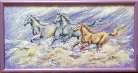 """Животные ручной работы. Ярмарка Мастеров - ручная работа. Купить Картинка маслом. """"Кони мои - птицы"""". Handmade. Лошади, чувства"""