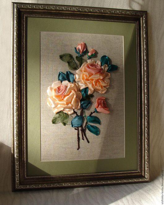 """Картины цветов ручной работы. Ярмарка Мастеров - ручная работа. Купить Вышивка лентами """"Утренняя роза"""" 21x30 см. Handmade."""