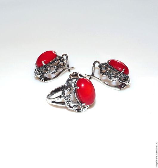 """Кольца ручной работы. Ярмарка Мастеров - ручная работа. Купить Кольцо """"Love"""" натуральный коралл, серебрение 925 пробы. Handmade."""