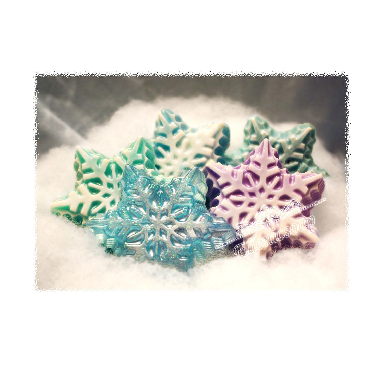 Зимние снежинки. Мыло ручной работы. Новый год. Подарки ручной работы.Edenicsoap.