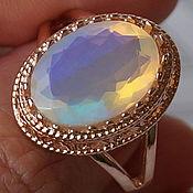 """Позолоченное кольцо-перстень с эфиопским опалом """"Солнце Африки"""""""