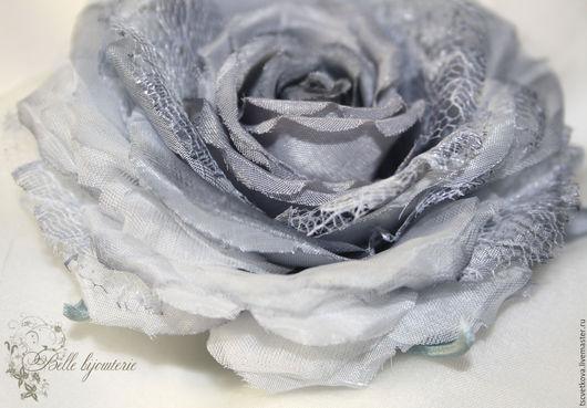 """Броши ручной работы. Ярмарка Мастеров - ручная работа. Купить шелковая роза """"Оттенки серого"""". Handmade. Серый, брошь из ткани"""