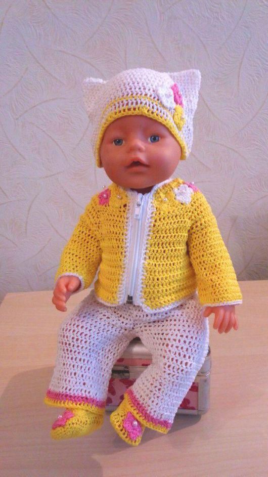 """Одежда для кукол ручной работы. Ярмарка Мастеров - ручная работа. Купить Комплект""""Солнышко""""(кофта,шапка,брючки,туфельки). Handmade. Желтый, ярко"""