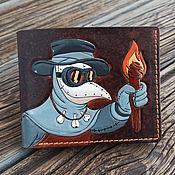 Сумки и аксессуары handmade. Livemaster - original item Plague doctor Wallet with embossed and painted design. Handmade.
