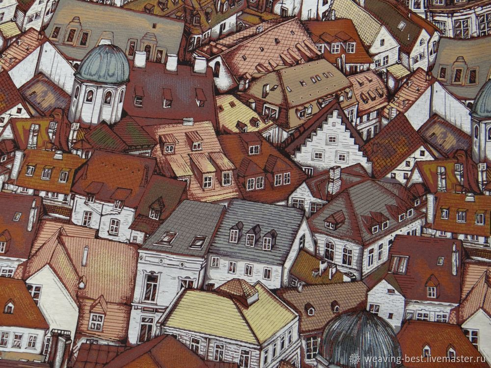 """Ткань гобеленовая """"Над крышами"""", Ткани, Москва,  Фото №1"""