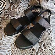 Обувь ручной работы handmade. Livemaster - original item Men`s Slippers, made of genuine crocodile leather, with Velcro!. Handmade.