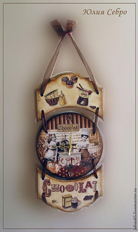 """Часы для дома ручной работы. Ярмарка Мастеров - ручная работа. Купить Часы настенные """"Горький шоколад"""" (набор для кухни). Handmade."""