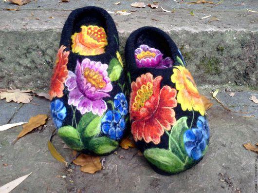 Обувь ручной работы. Ярмарка Мастеров - ручная работа. Купить Тапочки валяные  «Уютный шик» 25,5 см.. Handmade.