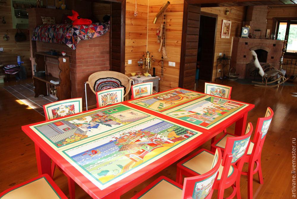 Роспись мебели. Обеденный  стол с росписью, Столы, Москва,  Фото №1