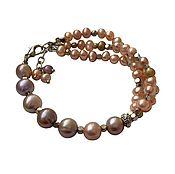 Bead bracelet handmade. Livemaster - original item Pearl Bracelet in pink-lilac shades. Multi-row bracelet. Handmade.