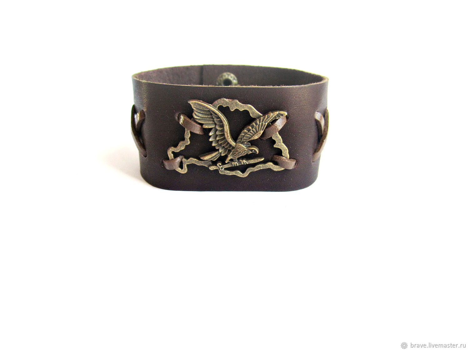 Jewelry for Men handmade. Livemaster - handmade. Buy Wide leather bracelet for men with eagle.Brown