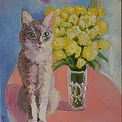Картины и панно ручной работы. Ярмарка Мастеров - ручная работа Натюрморт с кошкой. Handmade.