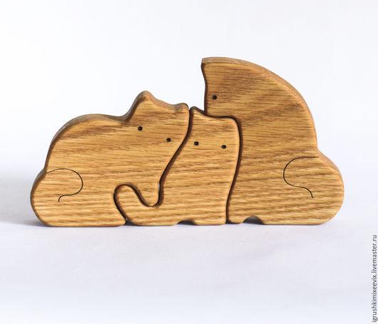 Игрушки животные, ручной работы. Ярмарка Мастеров - ручная работа. Купить Кошки семейка - БОЛЬШИЕ. Деревянная развивающая игрушка. Handmade.