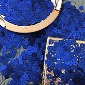 Sequins handmade. Livemaster - original item Matte flat sequins Andrea Bilics Italy 4mm, Royal Blue. Handmade.