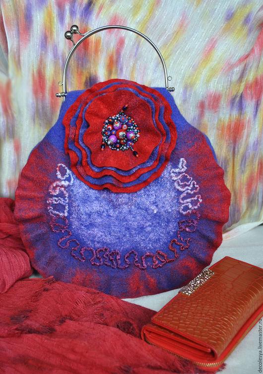"""Женские сумки ручной работы. Ярмарка Мастеров - ручная работа. Купить Сумка """"Perfecto"""". Handmade. Фиолетовый, красный, стильный подарок"""