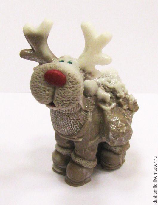 Мыло ручной работы. Ярмарка Мастеров - ручная работа. Купить Мыло Олень новогодний. Handmade. Голубой, мыло дед мороз