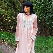 Одежда handmade. Livemaster - original item A dress made of angora and mohair with cotton lace (366). Handmade.