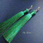 Материалы для творчества ручной работы. Ярмарка Мастеров - ручная работа Зеленые и черные, розовые  есть 2 шт Кисти для серег 12 см. Handmade.