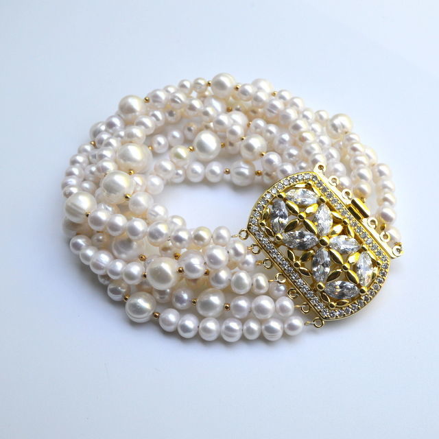 Multi-row bracelet from pearls WHITE PEARL handmade author`s work Buy a Lovely Bracelet Buy a bracelet of white pearls Buy a bracelet made from natural river pearls