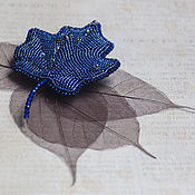 Украшения handmade. Livemaster - original item barrette Maple Leaf (dark blue color, three-dimensional embroidery). Handmade.