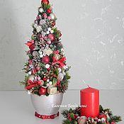 """Цветы и флористика handmade. Livemaster - original item SET: Christmas tree the """"Holiday"""". Candle holder Christmas.. Handmade."""