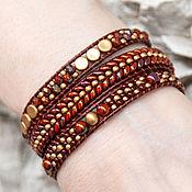 Украшения handmade. Livemaster - original item Bright bangle winding Chan Lu Burgundy bangle Red and gold bangle. Handmade.