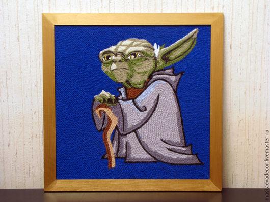 Животные ручной работы. Ярмарка Мастеров - ручная работа. Купить Картина вязанная из пряжи. Йода. Звёздные войны 40 х 40 см. Handmade.