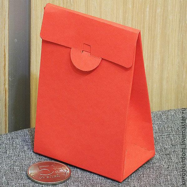 6х3,5х9 - коробочка-пакетик красного цвета из дизайнерского картона, Коробки, Санкт-Петербург,  Фото №1