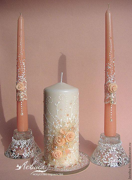 Свадебные аксессуары ручной работы. Ярмарка Мастеров - ручная работа. Купить Свадебные свечи «Мелодия». Handmade. Кремовый, свадебные бокалы