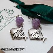 Украшения handmade. Livemaster - original item Earrings with lavender amethyst