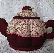 Для дома и интерьера handmade. Livemaster - original item Kettle-box Burgundy with flowers. Handmade.