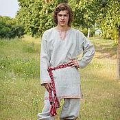 """Русский стиль ручной работы. Ярмарка Мастеров - ручная работа Рубаха """"Одолень-трава""""  небеленый лен. Handmade."""