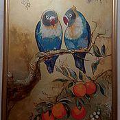 """Картины и панно ручной работы. Ярмарка Мастеров - ручная работа Картина """"Влюбленные попугаи"""". Handmade."""