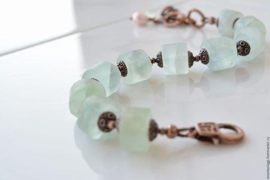 браслет , купить браслет , женский браслет , мятный браслет , браслет из флюорита ,браслет из камней