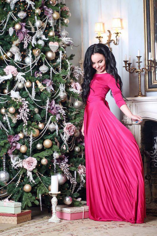 Платья ручной работы. Ярмарка Мастеров - ручная работа. Купить СКИДКА 30% Длинное платье с рукавами фуксия, ярко розовое платье в пол. Handmade.