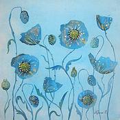 Картины и панно ручной работы. Ярмарка Мастеров - ручная работа Танец цветов ( на голубом фоне). Handmade.