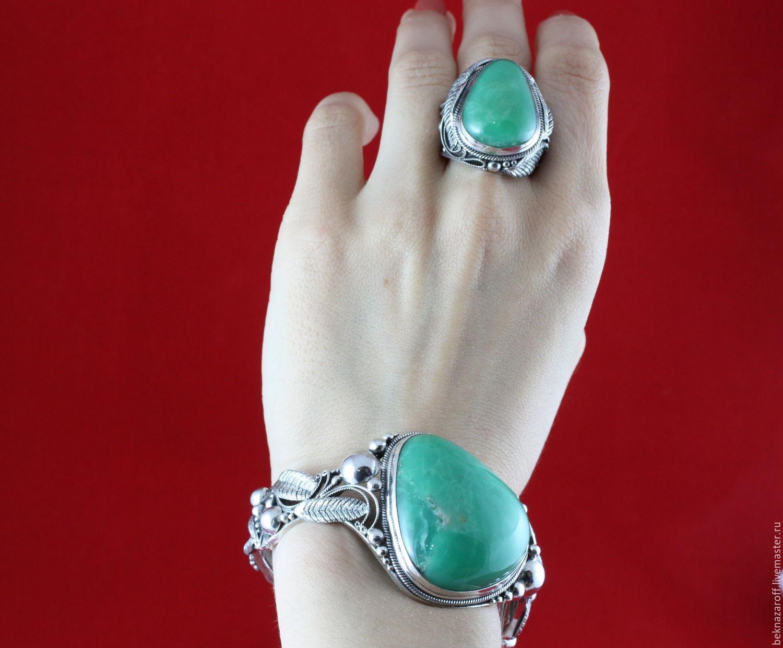"""браслет из серебра 925 с хризопразом """" классический """""""