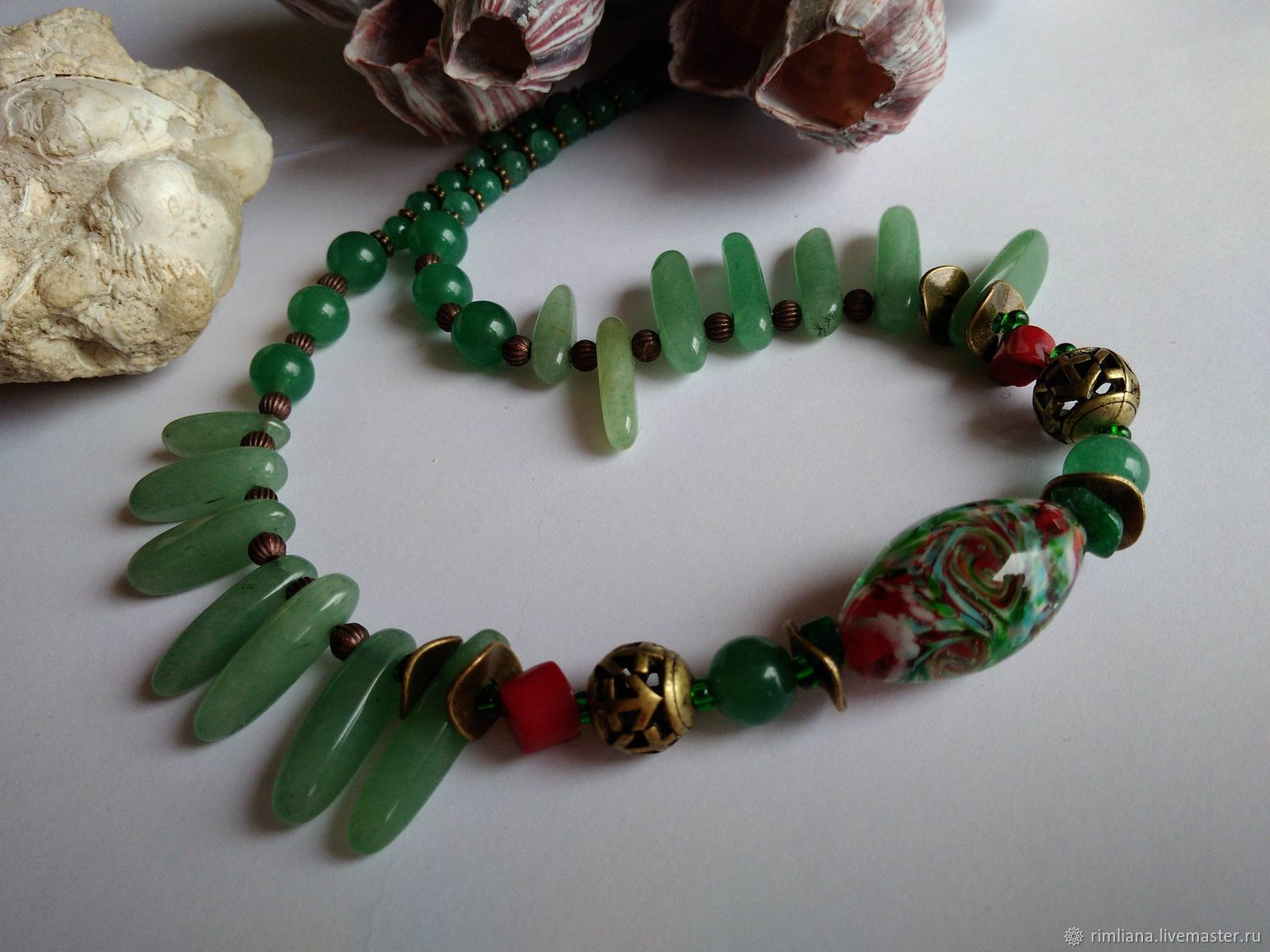 Beads short 'Spring' Jade with Natural stones, Lampwork, Necklace, Moscow,  Фото №1